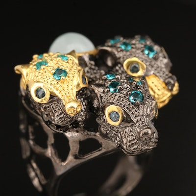 Sterling Beryl and Gemstone Triple Panther Head Ring