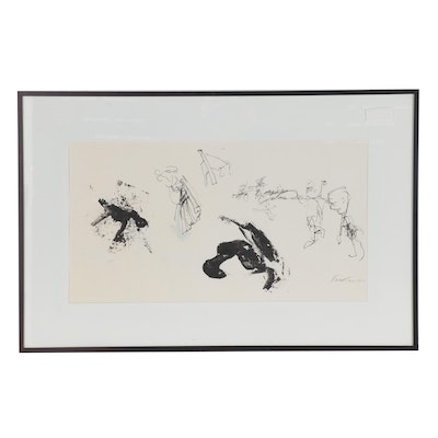 Fred Tarr Abstract Embellished Ink Drawing, 2011