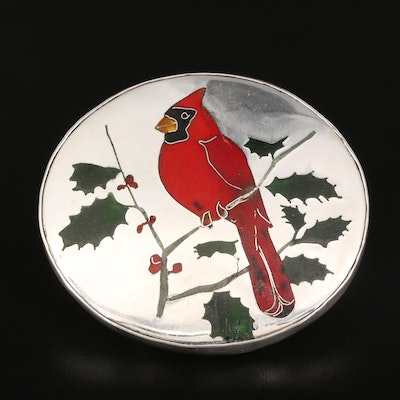 Signed Sterling Silver Cardinal and Holly Inlay Brooch