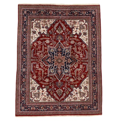 7'8 x 10'0 Hand-Knotted Indo-Persian Heriz Rug, 1990s