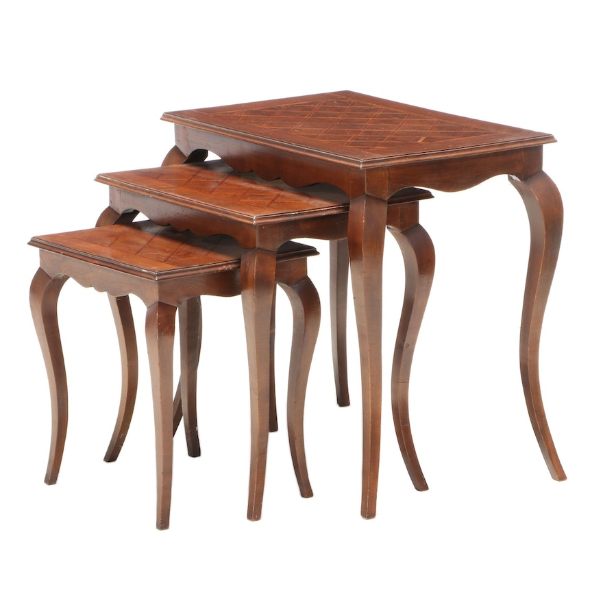 Louis XV Style Inlaid Walnut Nested End Tables