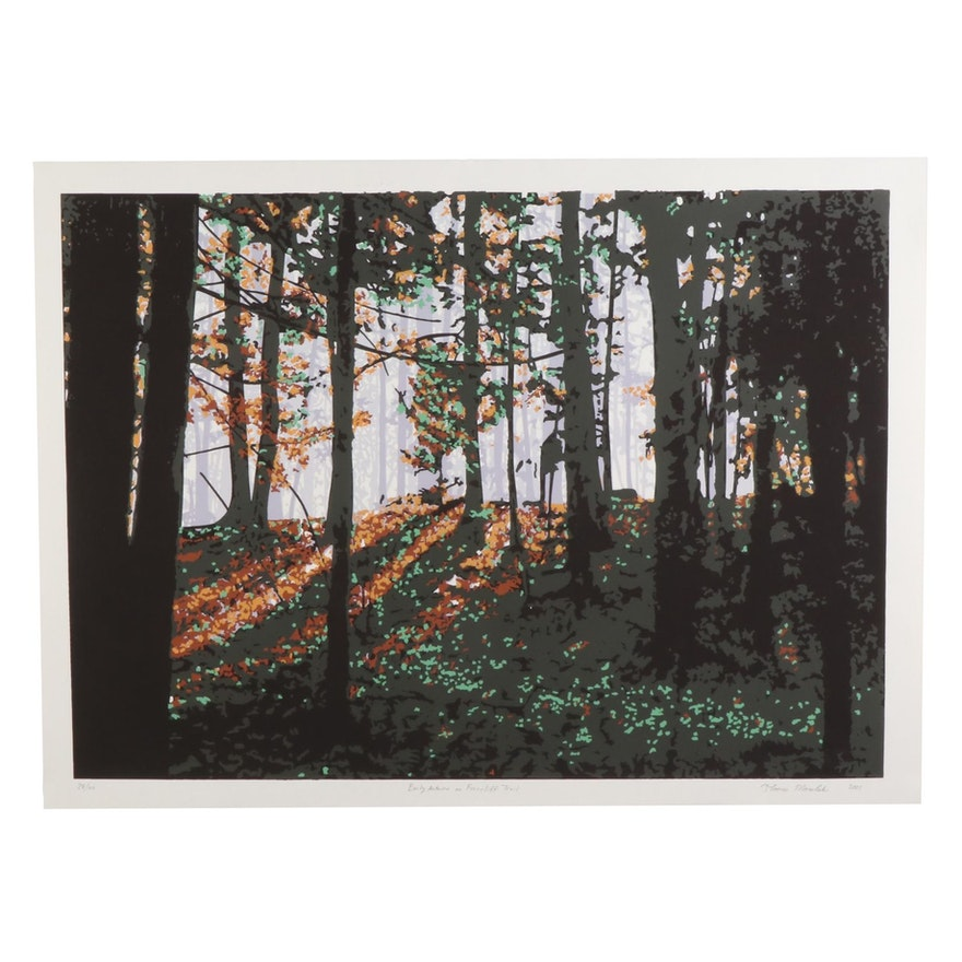 "Thomas Norulak Serigraph ""Early Autumn on Ferncliff Trail,"" 2001"