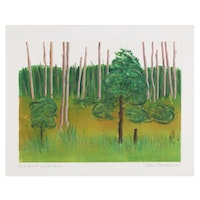 """Thomas Norulak Monotype """"Cook Forest From the Porch,"""" 1997"""