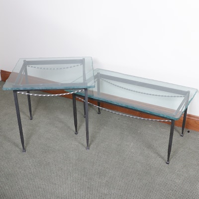 Glass Topped Metal Framed Coffee and Side Tables