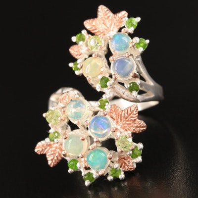 Sterling Opal, Peridot and Diopside Foliate Bypass Ring
