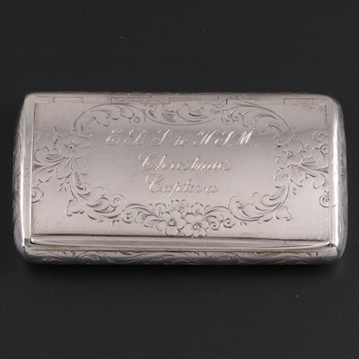 Frederick Marson of Birmingham Chased Sterling Silver Card Case, 1861