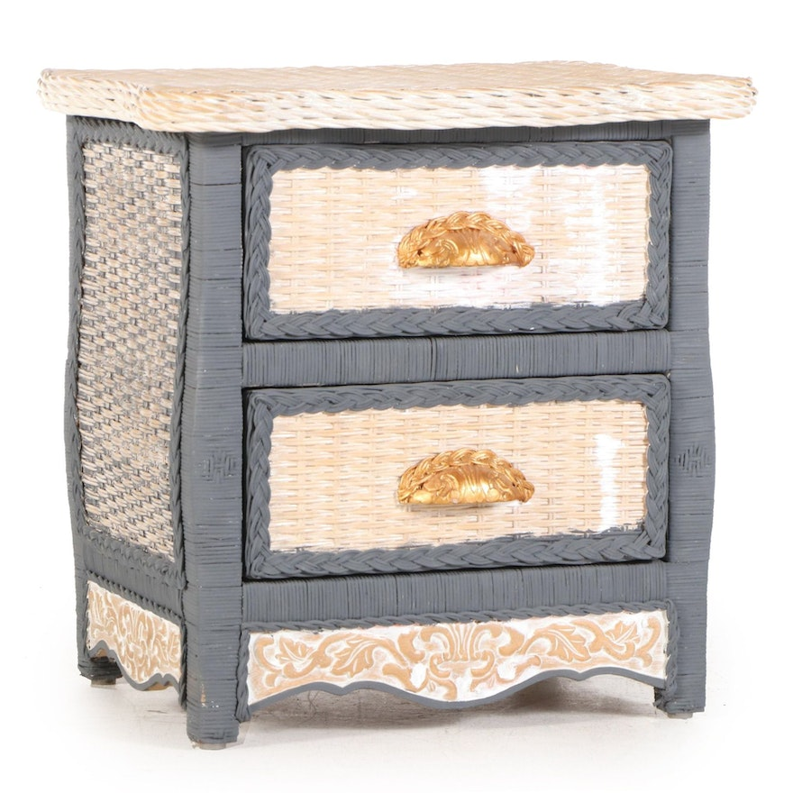 """Pier 1 """"Jamaican Collection"""" Painted Wicker Nightstand"""