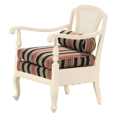Cream-Painted Caned-Back Armchair, Early to Mid 20th Century