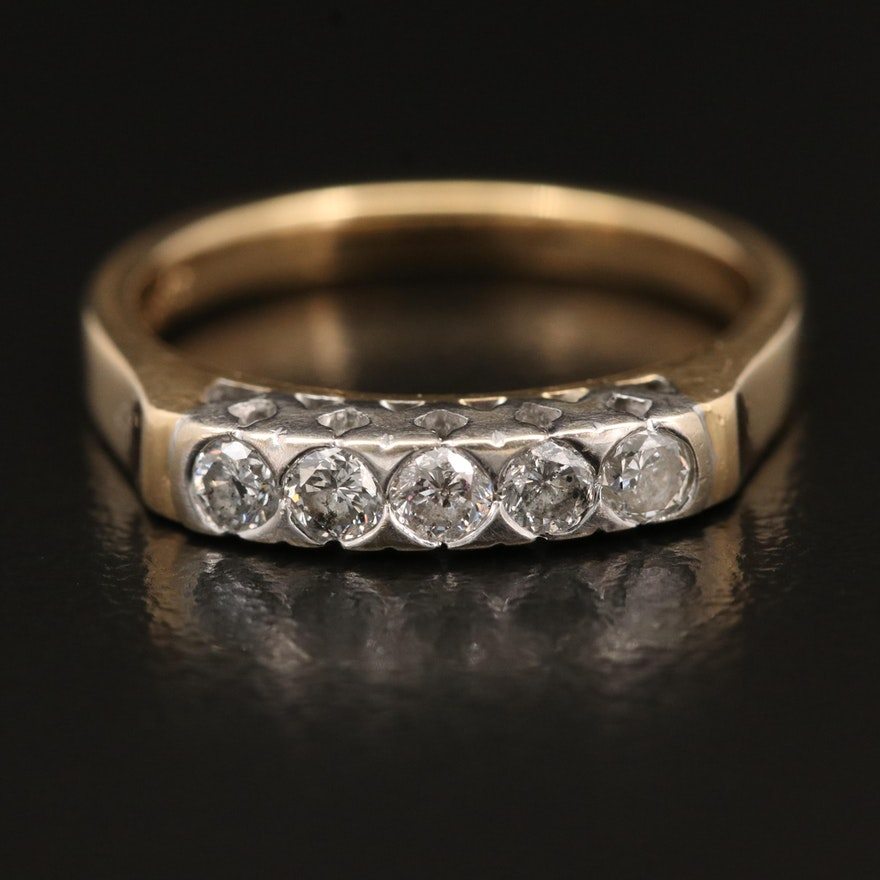 14K Diamond Five Stone Band