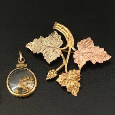 10K Tri-Tone Foliate Brooch and Native Gold Pendant