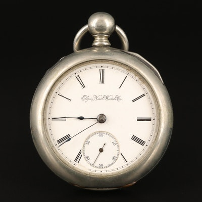 1891 Elgin Nickel Key Wind and Set Open Face Pocket Watch