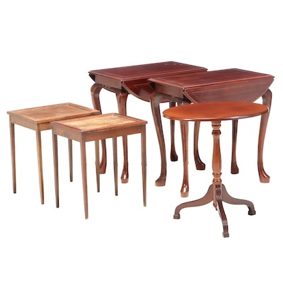The Bombay Company Mahogany Tilt-Top with Drop-Leaf End and Accent Tables