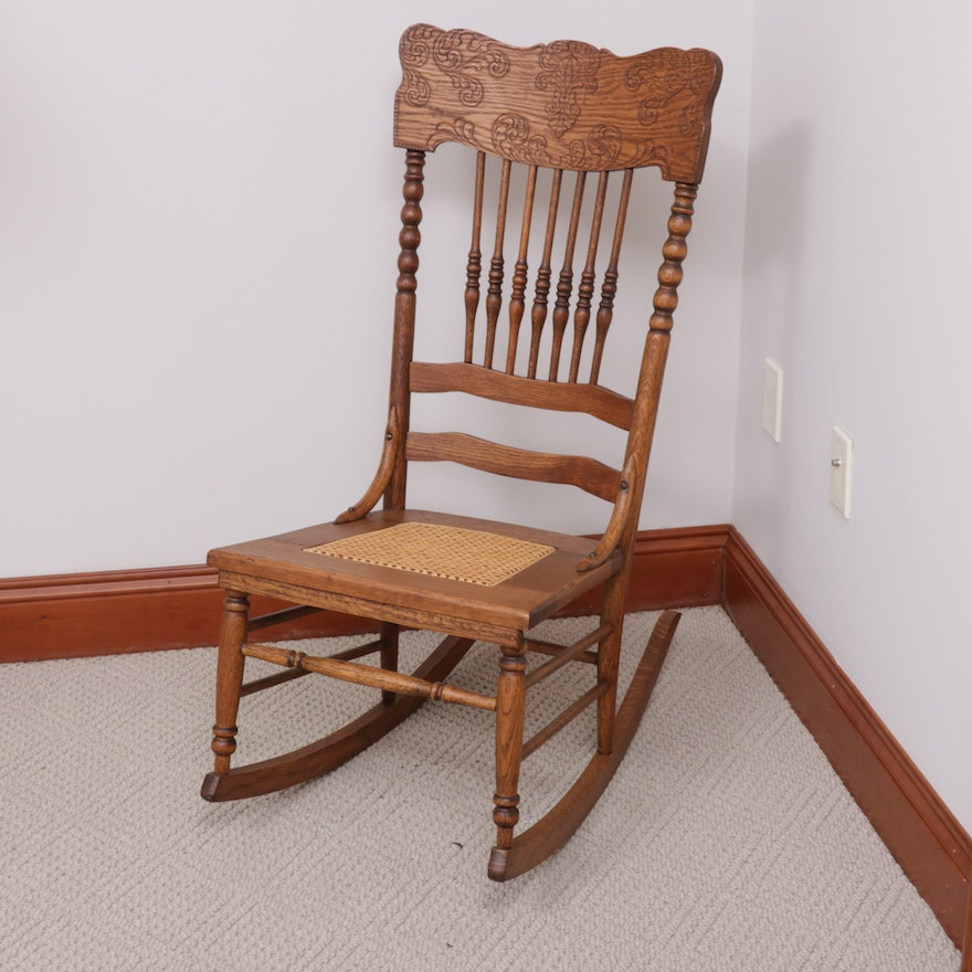 Victorian Pressed Oak and Cane Rocking Chair, Early 20th Century