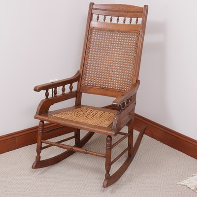 Victorian Oak and Cane Rocking Chair, Late 19th Century