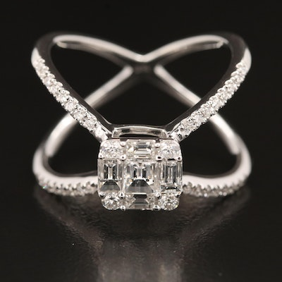 18K 1.13 CTW Diamond Crossover Ring