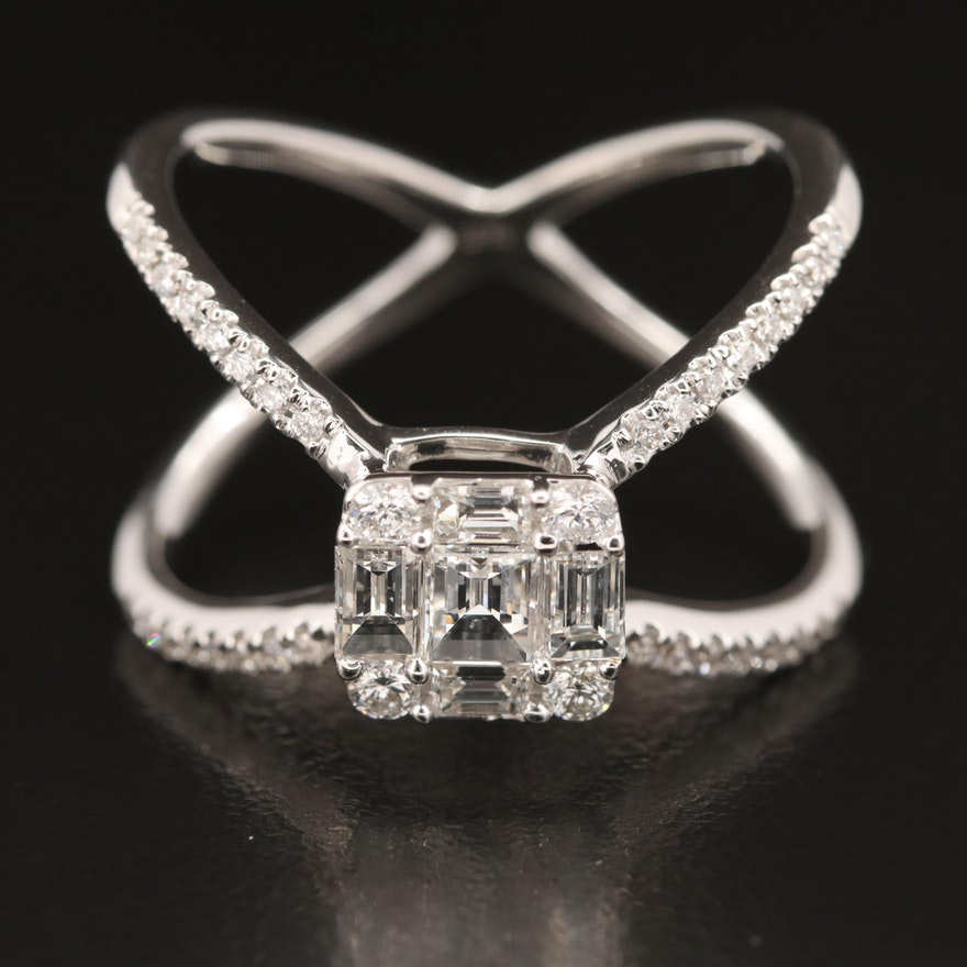 18K 1.13 CTW Diamond Crossover Ring