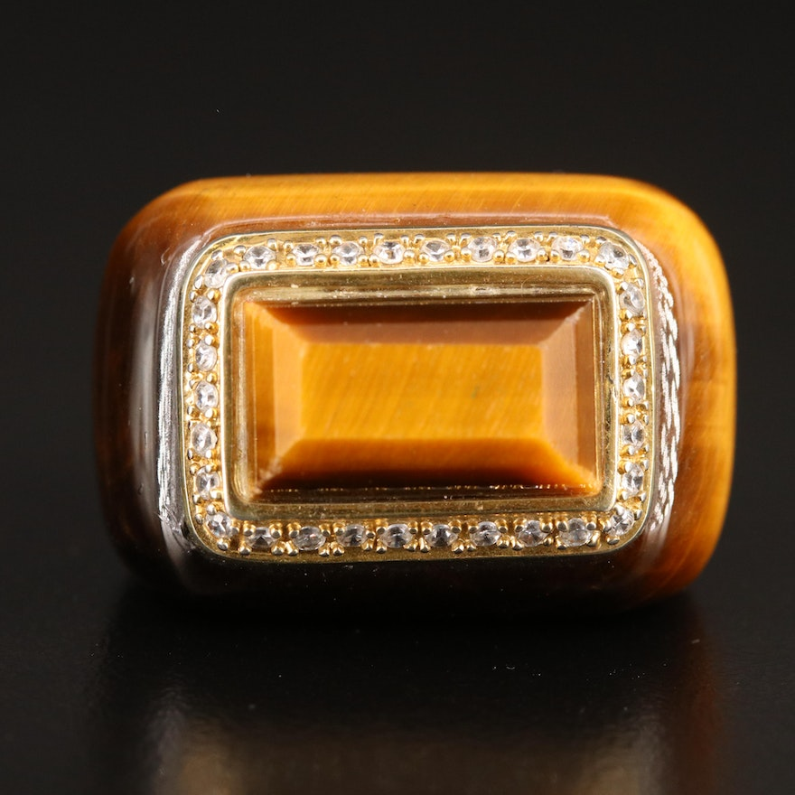 Tiger's Eye Hololith Ring with Cubic Zirconia Accents