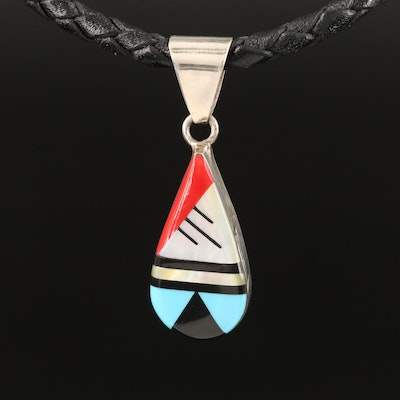 Sterling Mother of Pearl Inlay Pendant Necklace