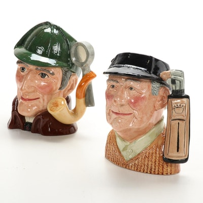 """Royal Doulton """"Golfer"""" and """"The Sleuth"""" Large Porcelain Character Jugs, Vintage"""