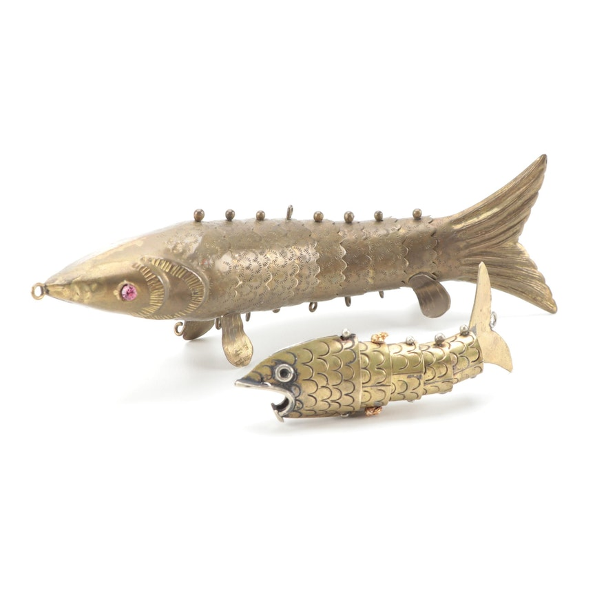 Brass Articulated Fish Charms, Mid to Late 20th Century