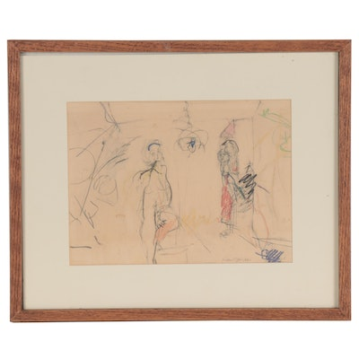 """Fred Tarr Abstract Figural Mixed Media Drawing """"Guests Arrive,"""" 1965"""