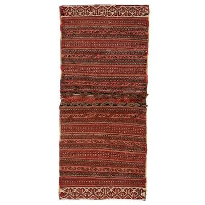 1'8 x 3'7 Handmade Persian Kurdish Saddlebag, 1930s
