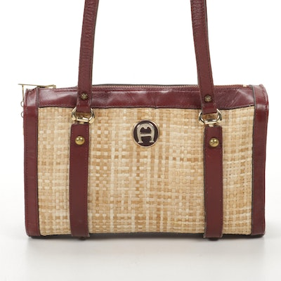 Etienne Aigner Shoulder Bag in Wicker and Burgundy Leather