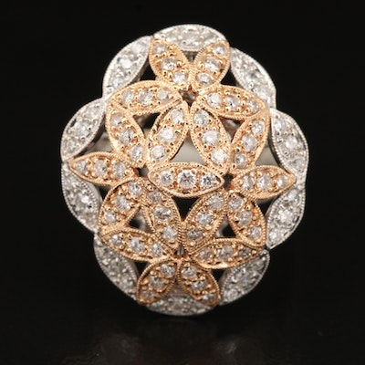 18K 1.30 CTW Diamond Floral Ring