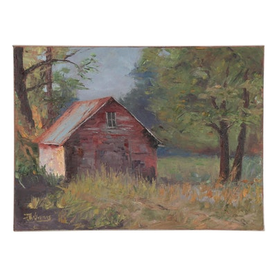 "James Baldoumas Oil Painting ""Old Shed,"" 2021"