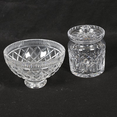 "Waterford Crystal ""Lismore"" Biscuit Barrel and ""Killeen"" Footed Bowl, Vintage"