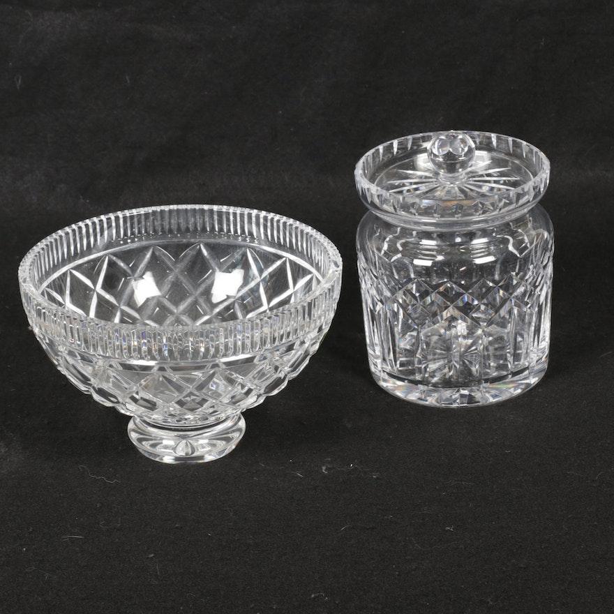 "Waterford Crystal ""Lismore"" Biscuit Barrel and ""Killeen"" Footed Bowl, Vintage"