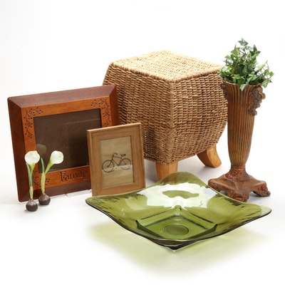 Woven Grass and Hardwood Stool and Other Decorative Contemporary Accessories