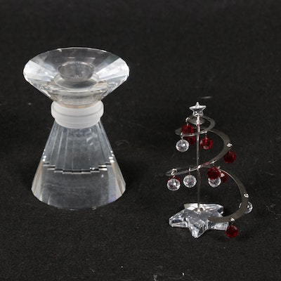 Swarovski Crystal Candlestick and Stylized Christmas Tree Figurine