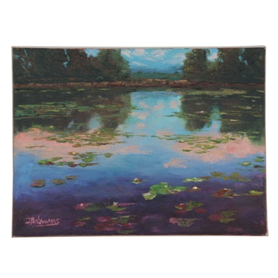 "James Baldoumas Oil Painting ""Pond Reflections,"" 2021"