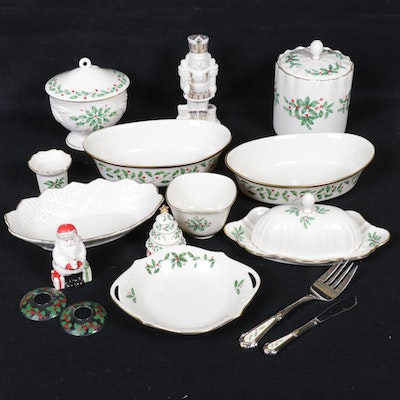 "Lenox ""Holiday"" and Christmas Themed Porcelain Table Accessories"