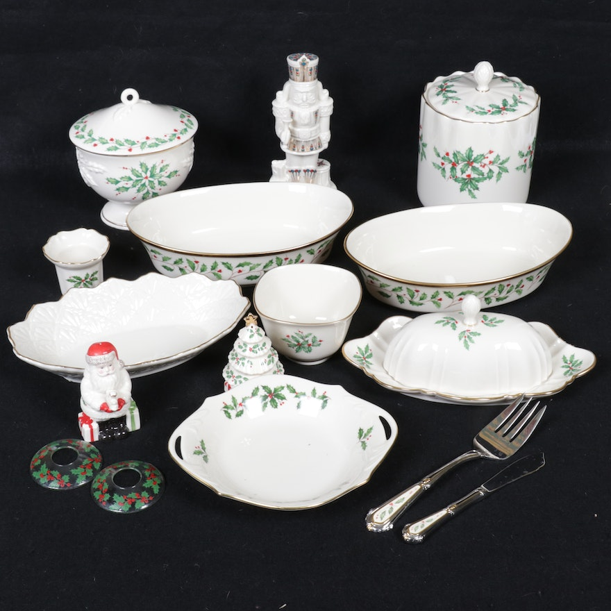 """Lenox """"Holiday"""" and Christmas Themed Porcelain Table Accessories"""