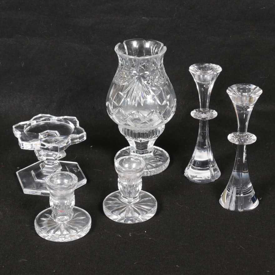 Waterford and Marquis by Waterford Crystal Candle Holders, Late 20th Century