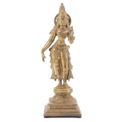 Cast Brass Tribhanga Posed Lakshmi Figurine
