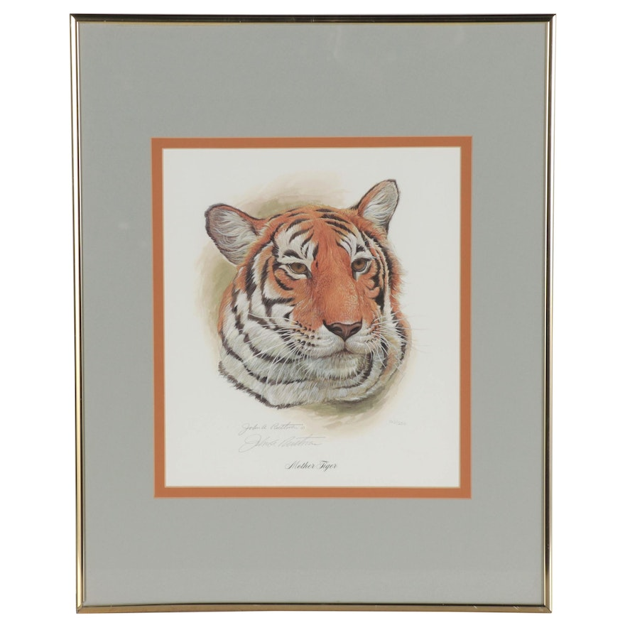 "John Ruthven Offset Lithograph ""Mother Tiger,"" Late 20th Century"
