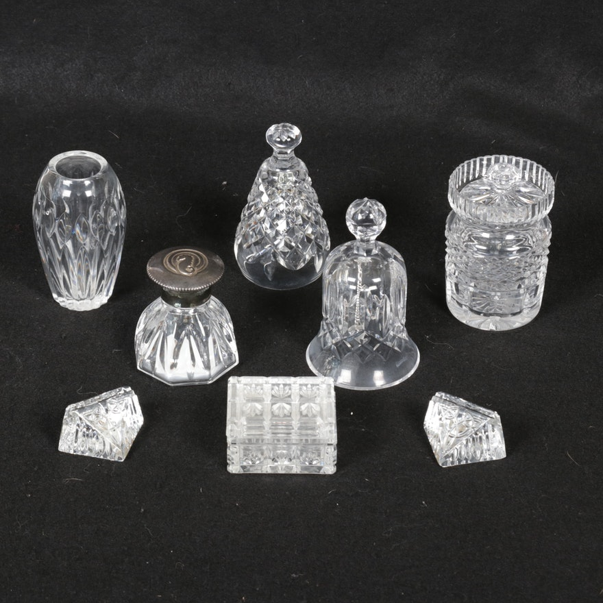 """Waterford """"Lyndon"""" Inkwell and Other Crystal Table Accessories"""