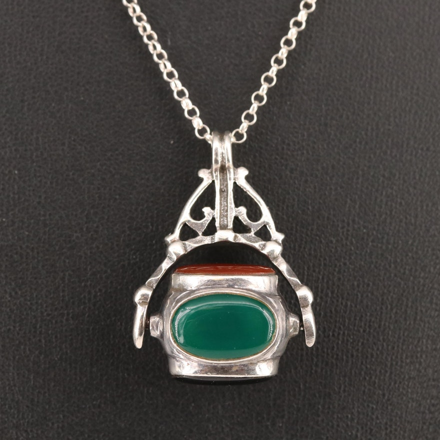 Sterling Mother of Pearl and Gemstone Articulated Pendant Necklace