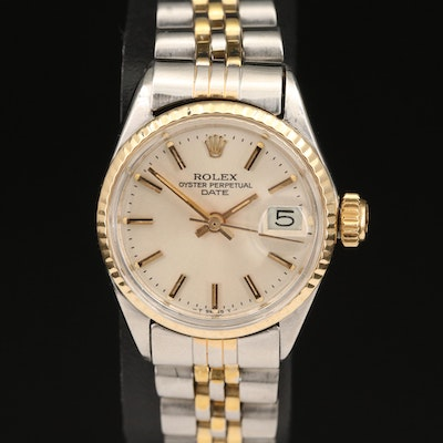 "1971 Rolex ""Datejust"" Stainless Steel and 14K Automatic Wristwatch"