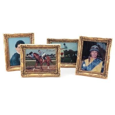 Framed Photographs of Secretariat's Jockeys, Including Three Autographed
