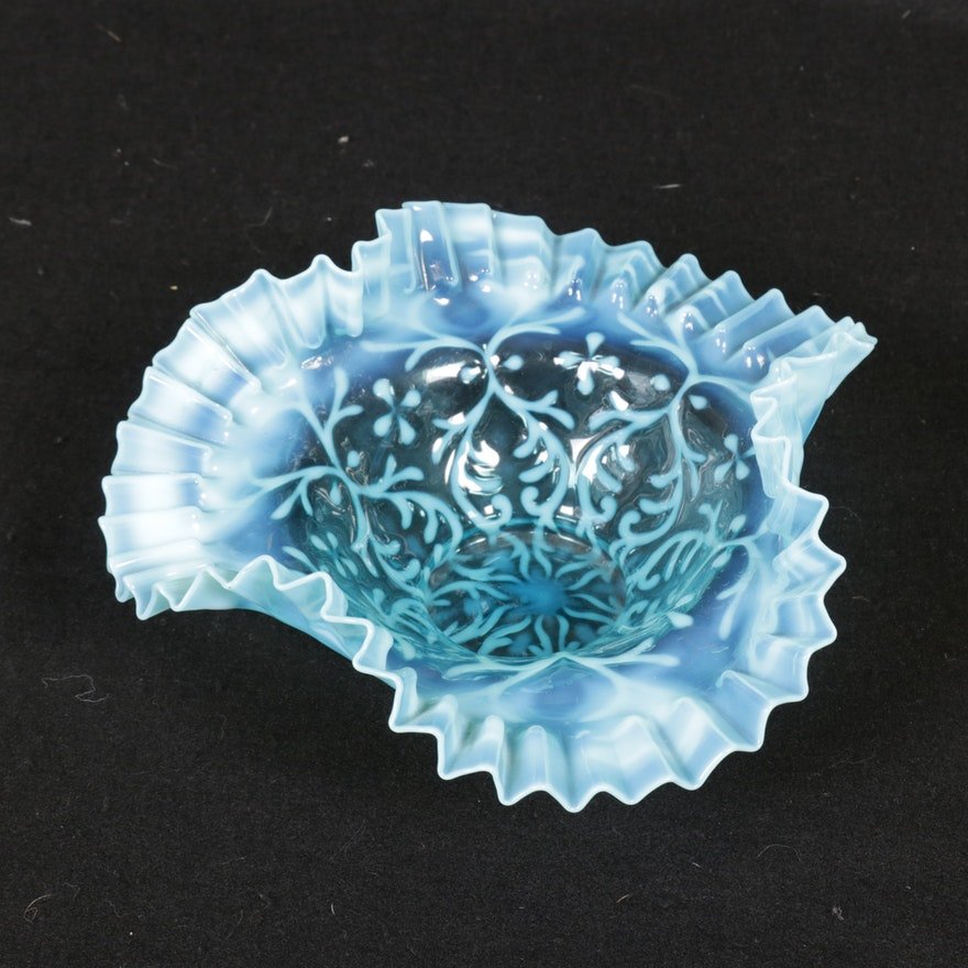 Fenton Spanish Lace Opalescent and Blue Ruffle Edge Bowl, Mid 20th Century