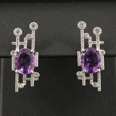 Contemporary Sterling Amethyst and Cubic Zirconia Earrings