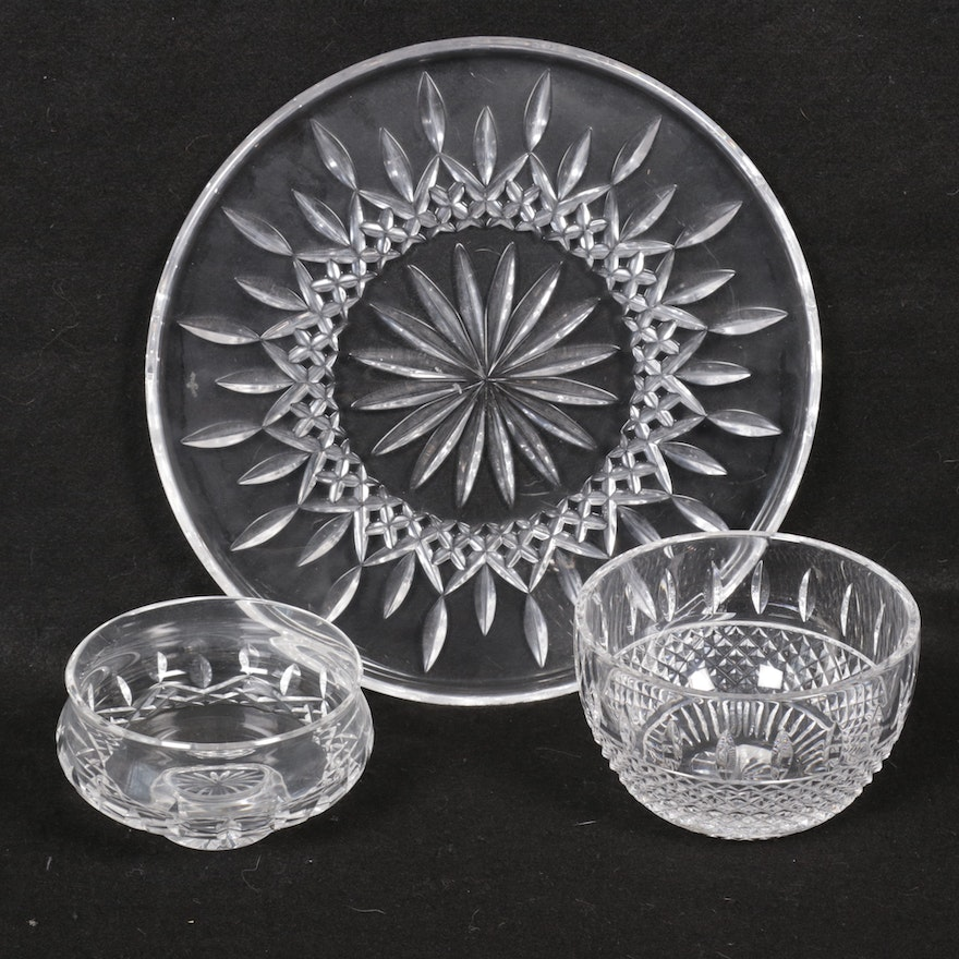 "Waterford Crystal ""Lismore"" Cake Platter and Footed Bowl with a ""Colleen"" Bowl"