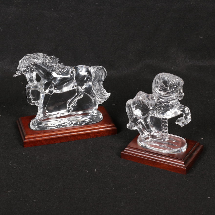 Waterford Crystal Unicorn and Carousel Horse Figurines with Wood Bases