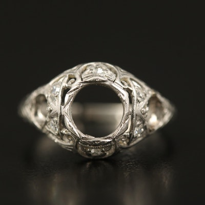 Edwardian Platinum Diamond Semi-Mount Scrap Ring
