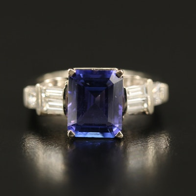 18K 3.70 CT Tanzanite and Diamond Ring with Euro Shank