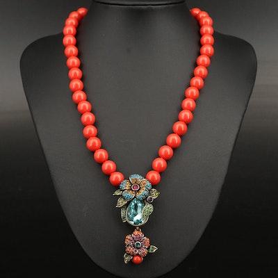 Heidi Daus Rhinestone and Acrylic Floral Necklace